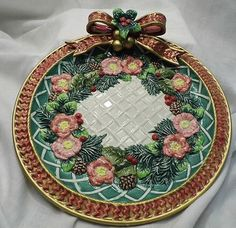 Fitz and Floyd holiday Christmas wreath plate