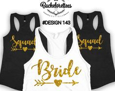 Set of 2,3,4,5,6,7,8,9,10,11,12 Bridal party shirts, Bridesmaid gift, bridesmaid shirt, Bachelorette party shirts, feyonce tank, Bridesmaid shirts  We can customize all of our designs to your needs!Please contact us if you have any questions  When placing the order just choose the quantity you need and than leave a note for us in what color the sizes have to be and what should say on each size  Example: We need 10 tank tops ALL TEXT with GOLD Foil:  1 Medium white to say Bride 9 black tanks…