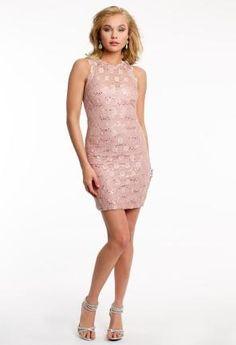 Sequin Lace Sheath Dress with Key Hole Back   Camillelavie.com