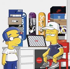 Simpsons X Supreme Simpson Wallpaper Iphone, Cartoon Wallpaper, Iphone Wallpaper, Cool Wallpaper, Simpson Wave, Trill Art, Simpsons Art, Supreme Wallpaper, Dope Wallpapers