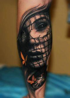 Gothic woman demon tattoo