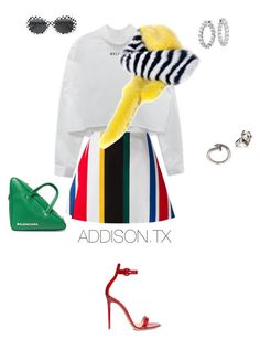 """Live in color"" by fashionoise ❤ liked on Polyvore featuring Marni, Prada, Yves Saint Laurent, Balenciaga, Gianvito Rossi, M. Cohen, Alexander McQueen and Blue Nile"