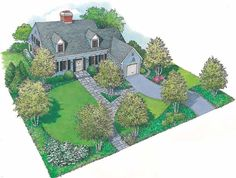 Eplans Landscape Plan - An Intimate, Comfortable Landscape from Eplans - House Plan Code HWEPL11425