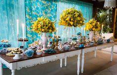 Princesas de Cristo: Casamento: azul tiffany e amarelo! Yellow Wedding, Summer Wedding, Wedding Day, Backyard Party Decorations, Table Decorations, Wedding Themes, Wedding Colors, Vintage Birthday, Summer Breeze