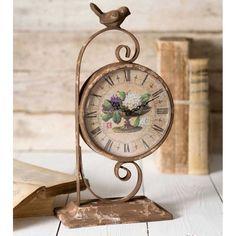 Distressed Vintage Style Wildflowers Tabletop Clock