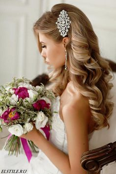 Hairstyle Half up half down wedding hairstyles updo for long hair for medium length for br. Half up half down wedding hairstyles updo for long hair for medium length for bridemaid Wedding Hair Side, Romantic Wedding Hair, Wedding Hairstyles For Long Hair, Glamorous Wedding, Bride Hairstyles, Down Hairstyles, Wedding Curls, Wedding Bangs, Trendy Wedding
