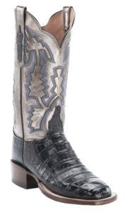 Lucchese®1883™ Women's Black Crocodile Tail with Pewter Top Square Toe Exotic Boot   Cavender's