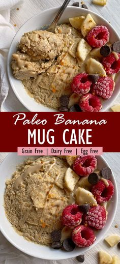This easy banana mug cake recipe is paleo, vegan and nut free. It's made with grain free flours, sweetened with banana and perfectly moist. This is the best healthy microwave cake! #mugcake #vegancake #paleocake #banancake Eggless Recipes, Cake Recipes, Vegan Recipes, Nut Free, Grain Free, Dairy Free, Chocolate Mug Cakes, Vegan Chocolate, Vegan Cake