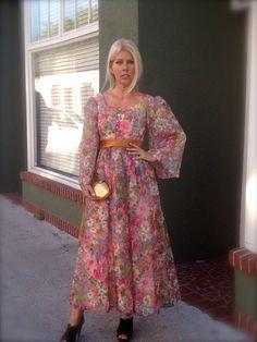 1960s Mod Maxi  Floral Maxi Prom Dress  by 86CharlotteStreet