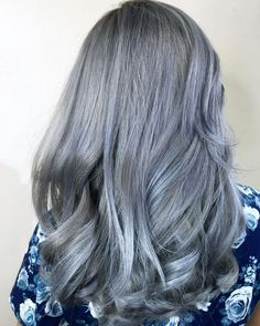 For a more neutral hair dye shade bordering on gray, try out a stonewashed denim color.