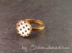 Ring Gold Punkte Schwarz Weiß