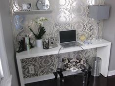 Glam Office Nook - love the silver wall!