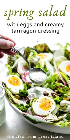My Spring Salad with Eggs and Creamy Tarragon Dressing is a beautiful addition to any spring brunch or Easter table. Its made with shaved asparagus fennel and radishes crunchy pistachios silky goat cheese and jammy eggs. The dressing is to die for. Easter Salad, Egg Salad, Easter Food, Salad With Eggs, Easter Lunch, Cottage Cheese Salad, Brunch Salad, Picnic Side Dishes, Easter Dinner Recipes