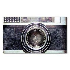 Old black camera business card