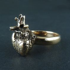 The Heart Ring in Bronze - Anatomical Heart Ring by Lost Apostle, $40.00