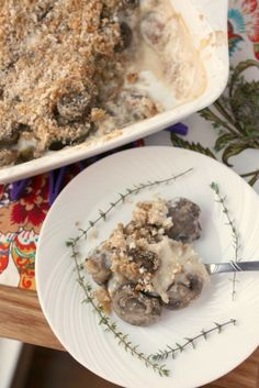 Mushroom Gratin Casserole - Low Calorie, Low Fat, Vegetarian  Side Dish - Pin it!