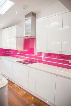 """""""Telemagenta"""" Stunning Pink Glass kitchen splashback with Mirror Stripes by CreoGlass Design (London, UK). View more glass kitchen splashbacks and non-scratch worktops on www.creoglass.co.uk. #kitchen #kitchensplashbacks"""