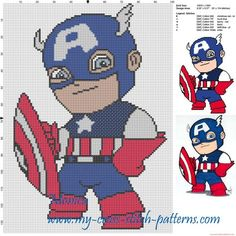 de point de croix chibi Captain America PlusMotif de point de croix chibi Captain America Plus Aloha Cross Stitch Pattern Beaded Cross Stitch, Cross Stitch Baby, Cross Stitch Charts, Cross Stitch Designs, Cross Stitch Embroidery, Cross Stitch Patterns, Marvel Cross Stitch, Captain America, Tapestry Crochet