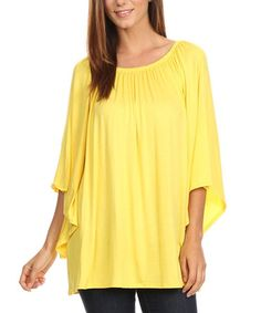 This Yellow Bell-Sleeve Tunic - Plus Too is perfect! #zulilyfinds