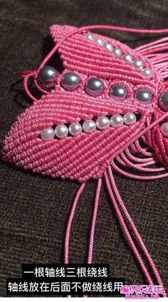 点击查看原图 Beaded Necklace Patterns, Crochet Necklace, Bracelet Tutorial, Macrame, Knots, Bracelets, Jewelry, Diy, Ideas