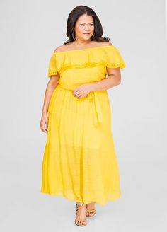 NOT YELLOW but love the style!!! Lace Trim Off-Shoulder Maxi Dress Lace Trim Off-Shoulder Maxi Dress