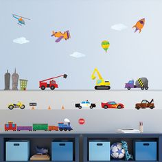 Train, Car, Airplane, Construction, Truck, and City Wall Stickers – Peel & Stick Decals for Baby and Kid Rooms