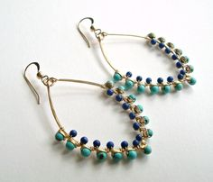 Turquoise Lapis Hoops, Boho Turquoise Hoop Earrings, Hammered Gold Hoops