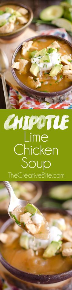 Chipotle Lime Chicken Soup is a quick and easy weeknight dinner with robust flavor and healthy ingredients. Easy Soup Recipes, Best Chicken Recipes, Light Recipes, Cooking Recipes, Recipe Chicken, Chili Recipes, Copycat Recipes, Healthy Menu, Healthy Eating