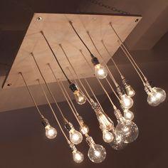 Urban whitewash chandelier with varying Edison style bulbs Light Bulb Chandelier, Chandelier Picture, Birdcage Chandelier, Industrial Chandelier, White Chandelier, Industrial Pipe, Modern Chandelier, Pendant Lights, Restaurant Lighting