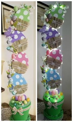 Wood Easter Egg Topiary- Fun easter decor DIY homemade idea. Craft