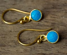 Turquoise Earrings Gold Turquoise Earrings Bezel Set
