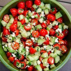 Cherry Tomato, Cucumber, & Mint Salad (gluten-free, contains dairy) - Vegetarian Gastronomy