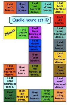 THREE TELLING TIME GAMES FOR GRADE 1 (FRENCH) - TeachersPayTeachers.com