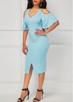 Slit Front V Neck Cold Shoulder Blue Sheath Dress on sale only US$34.42 now, buy cheap Slit Front V Neck Cold Shoulder Blue Sheath Dress at liligal.com