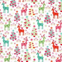 white Christmas fabric reindeer fir tree by Michael Miller 2