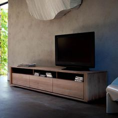 Ethnicraft Shadow oak TV unit | solid wood furniture - low down option for the TV to be displayed upstairs in the family room.