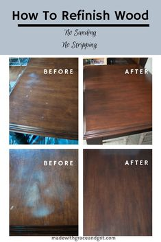 How to Refinish Wood Furniture Without Stripping or Sanding Refinish Wood Furniture, Furniture Repair, Furniture Projects, Furniture Making, Furniture Makeover, Woodworking Furniture, Refinishing Kitchen Tables, Painted Kitchen Tables, Painted Furniture