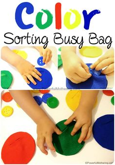 Classic color sorting activity with felt pouches to encourage fine motor skills. (no sew) by jodi Sorting Activities, Color Activities, Infant Activities, Activities For Kids, Autism Activities, Autism Resources, Indoor Activities, Preschool Colors, Teaching Colors