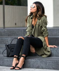 Pam Hetlinger + smart, elegant and feminine + oversized silky shirt + distressed black jeans + studded sandals + chic finish + pair of retro shades + essence of this fall style.   Jeans: Revolve, Top: Mango, Sandals: Maje, Coat: Duster, Bag: Celine.   /