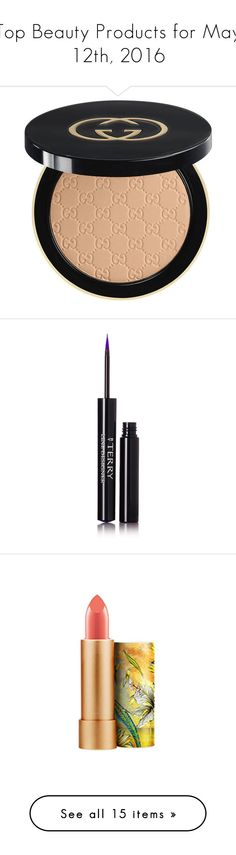 """""""Top Beauty Products for May 12th, 2016"""" by polyvore ❤ liked on Polyvore featuring beauty products, makeup, face makeup, face powder, beauty, faces, finishing powder, gucci, powder brush and eye makeup"""