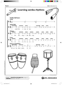 Patterns for various instruments to create a samba rhythm. Drum Lessons, Music Lessons, Samba Music, Music Rock, Middle School Music, Music Lesson Plans, Music Worksheets, Music Activities, Movement Activities