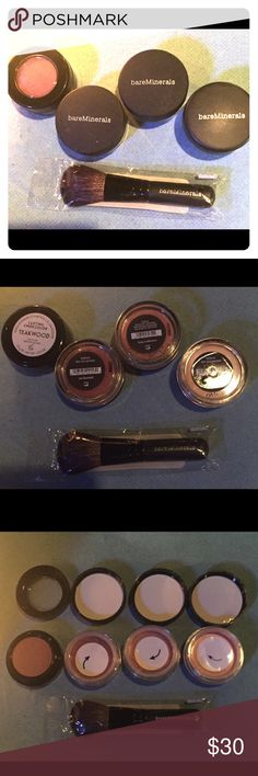 Brand new Bare Minerals and Merle Norman blush 4 Brand new, never used blush and new little brush! From left to right: Merle Norman-Teakwood .05 oz; Bare Minerals- enchanted .02 oz; Bare Minerals- all over face color- luxe radiance .02 oz; Bare Minerals- giddy pink .02 oz. bareMinerals Makeup Blush