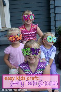 easy kids craft goofy foam glasses #foamcrafts