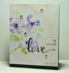 Dogwood stamped with Gelatos, a colorwash background and a fabulous sentiment from Winnie & Walter