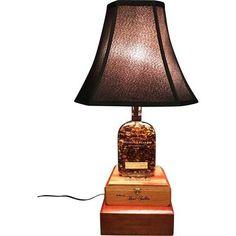 Bourbon Bottle Table Lamp w/Wooden Cigar Box Base
