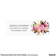 Shop Watercolor Boho Chic Floral Wedding Label created by partypeeps. Wedding Address Labels, Mailing Address, Floral Wedding Stationery, Wedding Invitations, Boho Flowers, Flower Bouquet Wedding, Floral Bouquets, Chic Wedding, Boho Chic