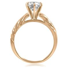 18K Rose Gold GPSterling Silver Round Cut VVS1 Diamond Solitaire Engagement Ring #affinityengagementjewels #Solitaire