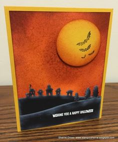 handcrafted Halloween caard ... luv her sponged sky and the bats in front of the orange harvest moon ... die cut landscape dies in black ... great use of sponged edges to create depth ... Stampin' Up!