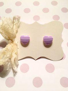 Purple Stripes Heart Studs Earrings by strawberriesncreamm on Etsy