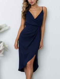 Oh-so femme in this V-neck Ruching Side Asymmetric Wrap Midi dress from Yoins. Made from a light weighted woven texture fabric in a bodycon fit silhouette. Topped with thin shoulder straps, an V neckline cutout detailing at the chest. Features sleeveless, asymmetric hem hidden zipper.